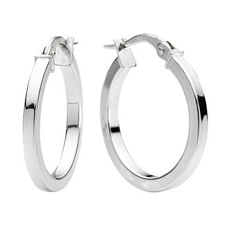 9ct White Gold Plain Round Creole Hoop Earrings 15mm - Product number 4467604