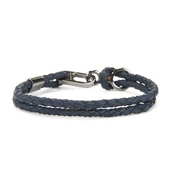 BOSS Bertie Men's Dark Blue Leather Bracelet - Product number 4470389