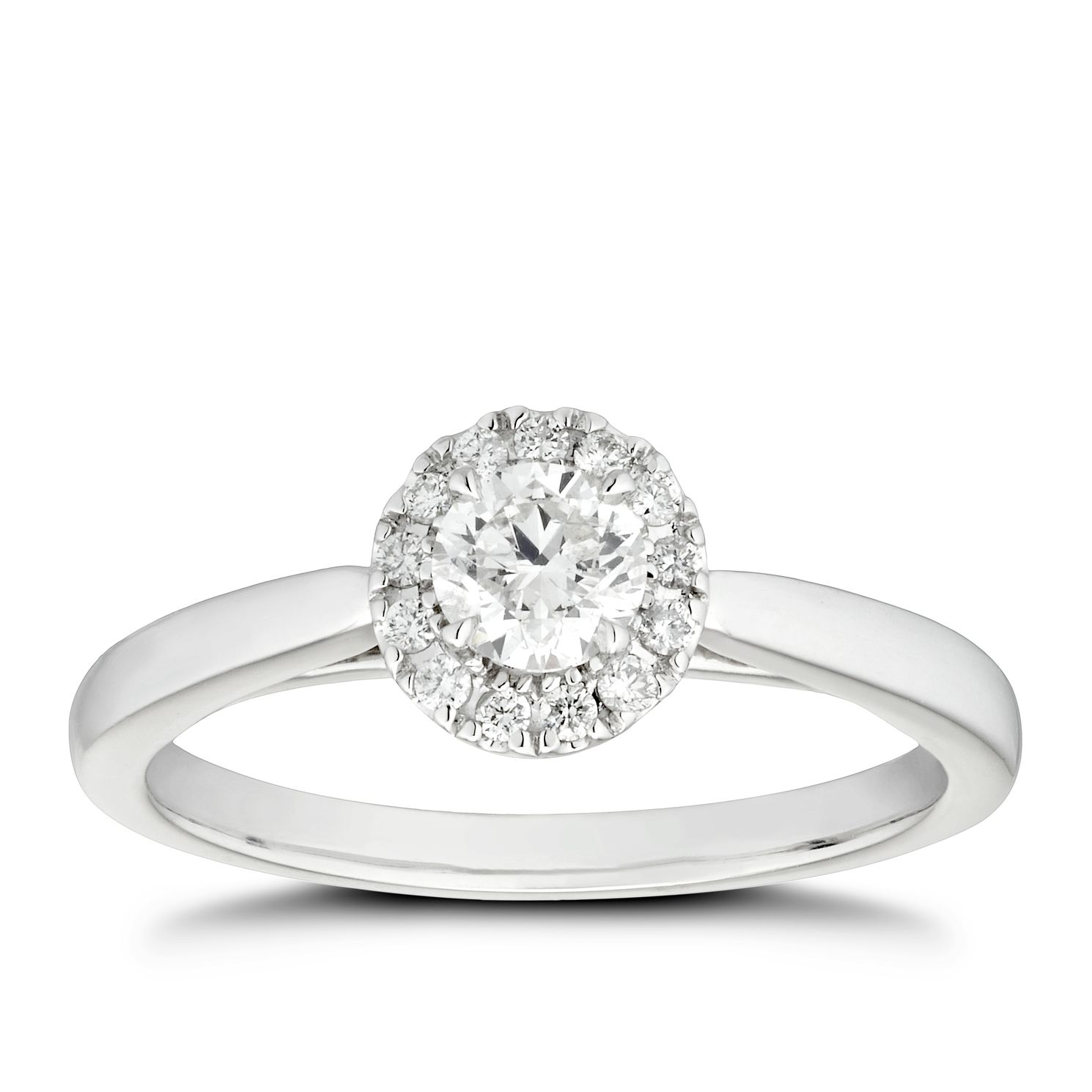 Platinum 0.50ct Total Diamond Round Halo & Hidden Stone Ring - Product number 4471296