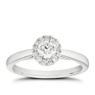 Platinum 1/2ct Diamond Round Halo & Hidden Stones Ring - Product number 4471296