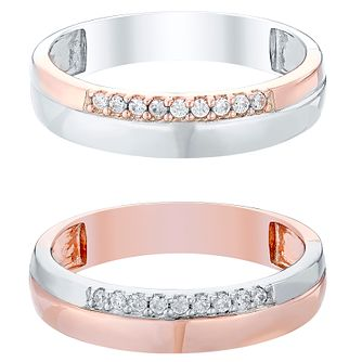Love True 9ct White Gold & Rose Gold Diamond Wedding Band - Product number 4471873