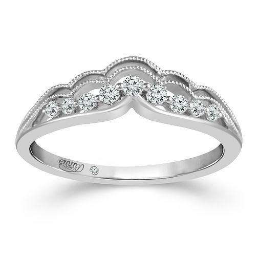 Emmy London 18ct White Gold 0.12ct Diamond Scallop Edge Ring - Product number 4472950