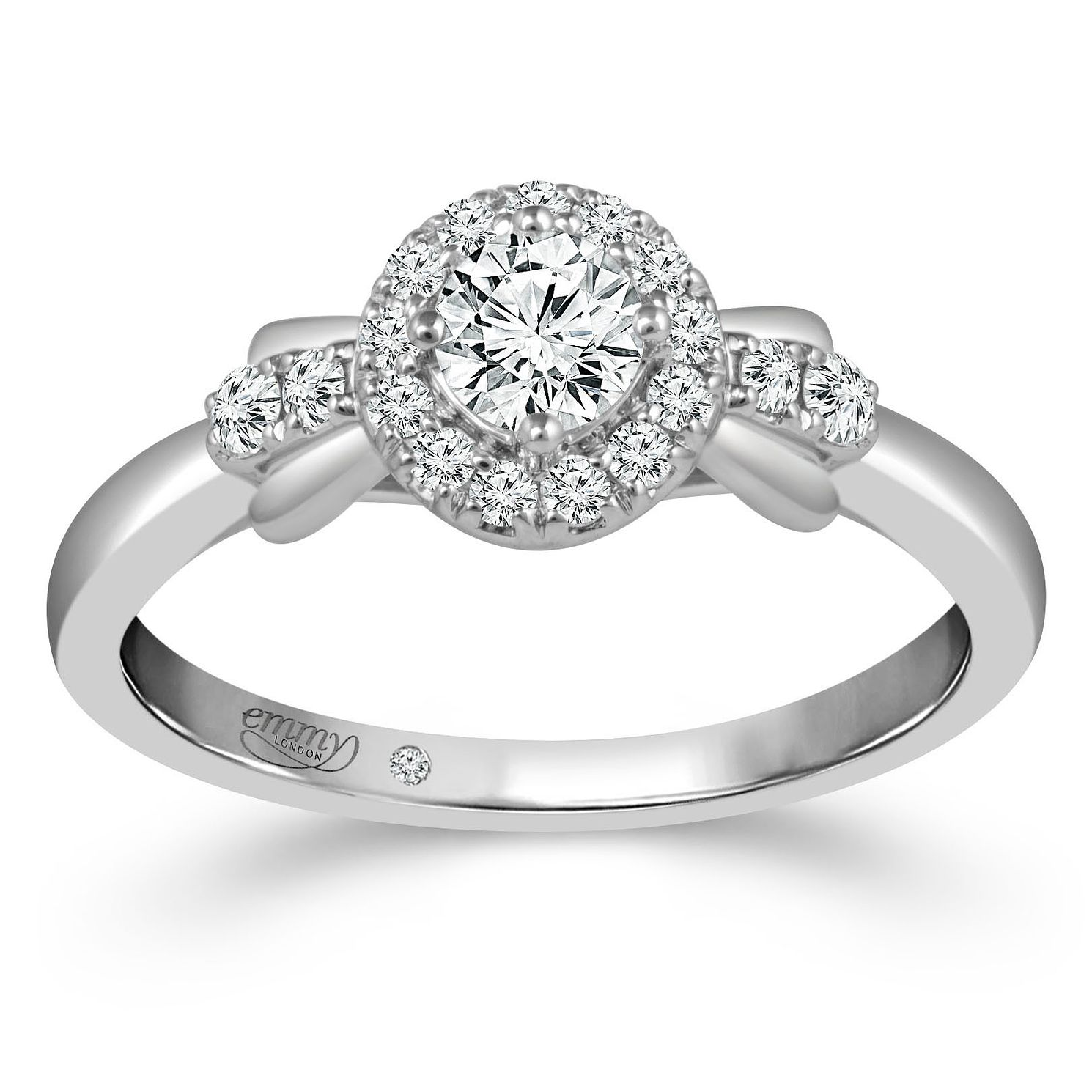 Emmy London Palladium 1/2ct Diamond Round Halo Ring - Product number 4473949