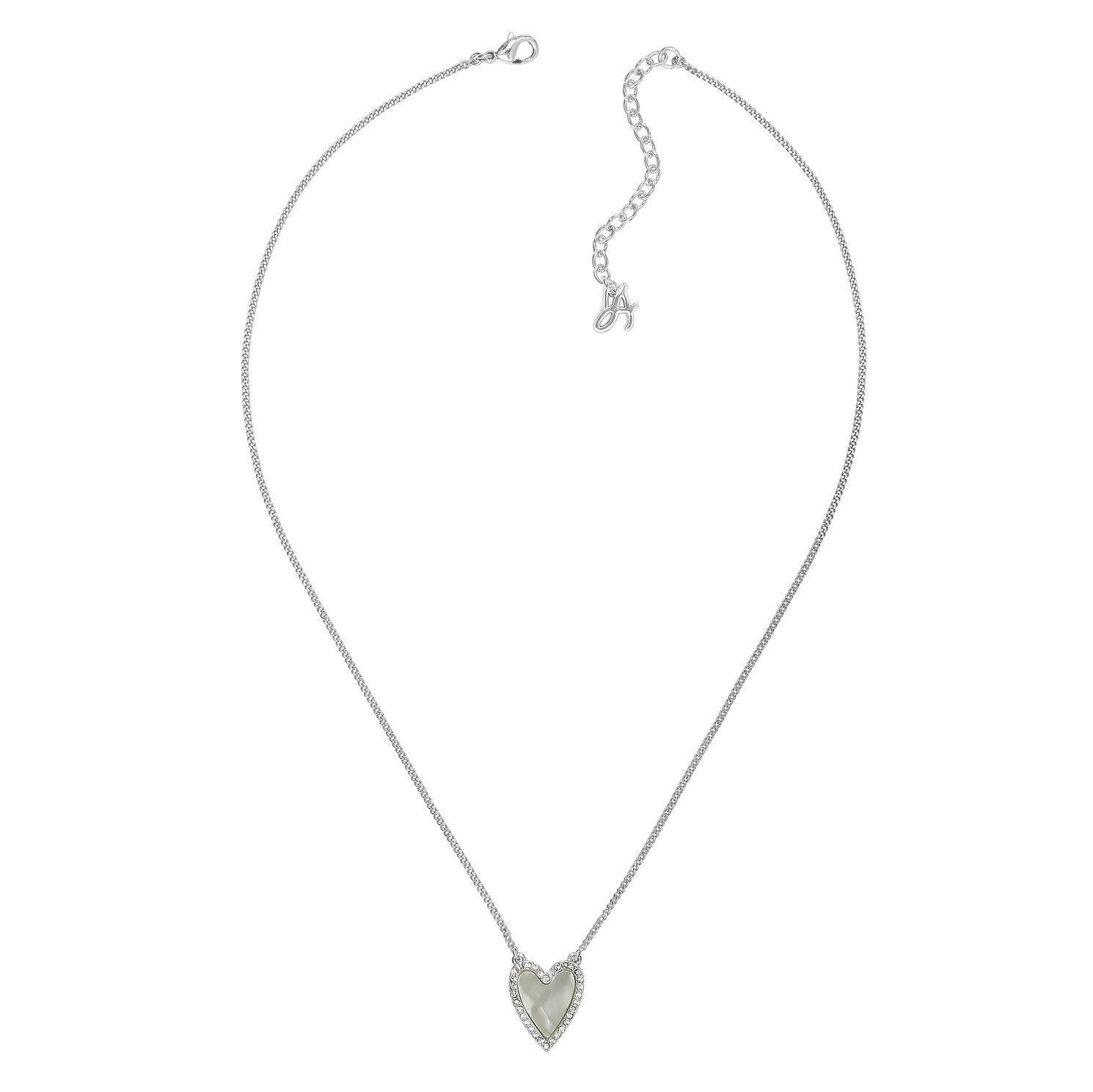 Adore Resin Heart Rhodium Plated Swarovski Crystal Necklace - Product number 4475100
