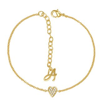 Adore Mini Pave Gold Plated Heart Crystal Bracelet - Product number 4475127