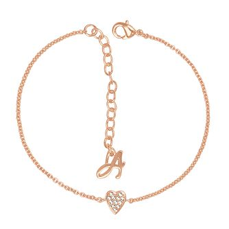 Adore Mini Pave Rose Gold Plated Heart Crystal Bracelet - Product number 4475135