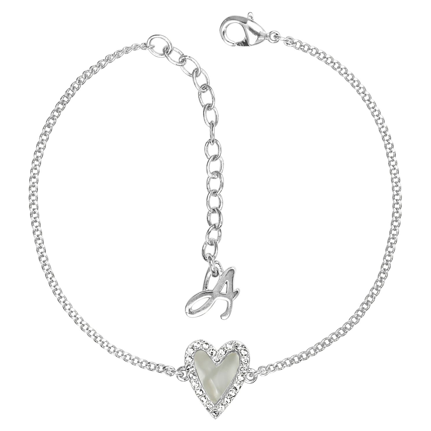 Adore Resin Heart Rhodium Plated Swarovski Crystal Bracelet - Product number 4475186