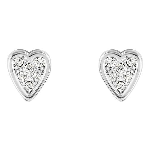 Adore Mini Pave Rhodium Plated Heart Crystal Stud Earrings - Product number 4475208
