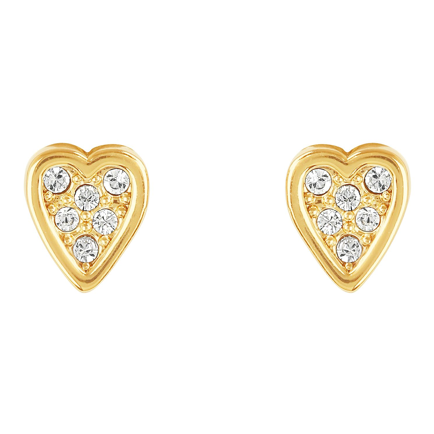 Adore Mini Pave Gold Plated Heart Crystal Stud Earrings - Product number 4475216