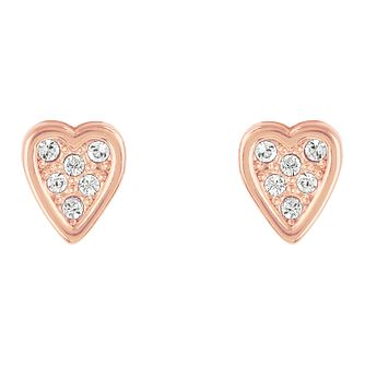 Adore Mini Pave Rose Gold Plated Heart Crystal Stud Earrings - Product number 4475224