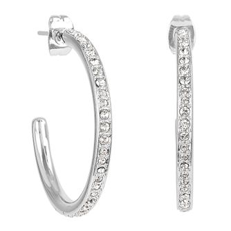 Adore Organic Circle Rhodium Plated Crystal Hoop Earrings - Product number 4475232