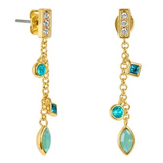 Adore Crystal Charm Gold Plated Swarovski Drop Earrings - Product number 4475380