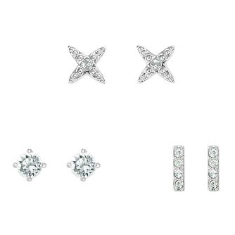 Adore Rhodium Plated Crystal Set of 3 Stud Earrings - Product number 4475445