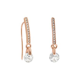 Adore Ladies' Rose Gold Plated Linear Pave Crystal Earrings - Product number 4475496