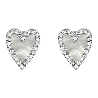 Adore Resin Heart Rhodium Plated Swarovski Crystal Earrings - Product number 4475518