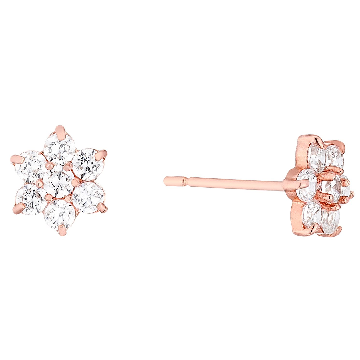 9ct Rose Gold Cubic Zirconia Set Flower Stud Earrings - Product number 4476034