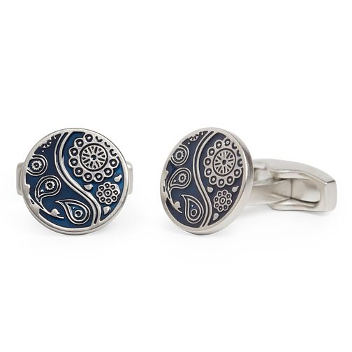 Simon Carter Navy Paisley Round Cufflinks - Product number 4476832
