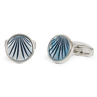 Simon Carter Mother Of Pearl Blue Palm Round Cufflinks - Product number 4477073