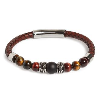 Simon Carter Woven Leather & Tiger Eye Beaded Bracelet - Product number 4477146