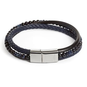 Simon Carter Black Leather & Onyx Stone 3 Row Bracelet - Product number 4477162