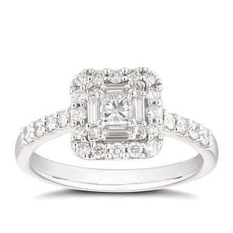 18ct White Gold 2/3ct Diamond Mix-Cut Princess Halo Ring - Product number 4478142