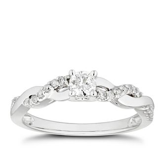 9ct White Gold 1/4ct Diamond Solitaire Intertwined Ring - Product number 4478312