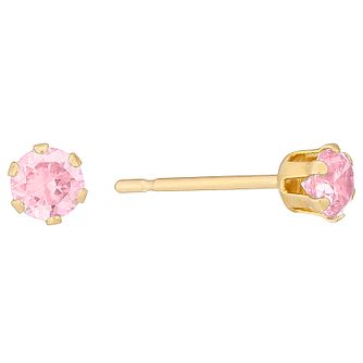 9ct Yellow Gold Pink Cubic Zirconia 3mm Stud Earrings - Product number 4478797