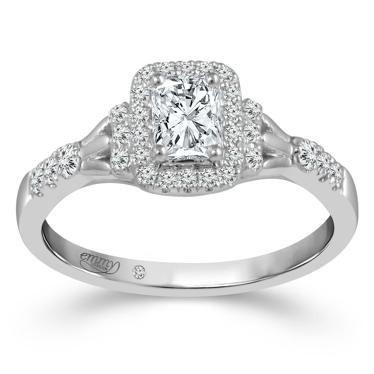 Emmy London 18ct White Gold 1/2ct Diamond Halo Ring - Product number 4479505