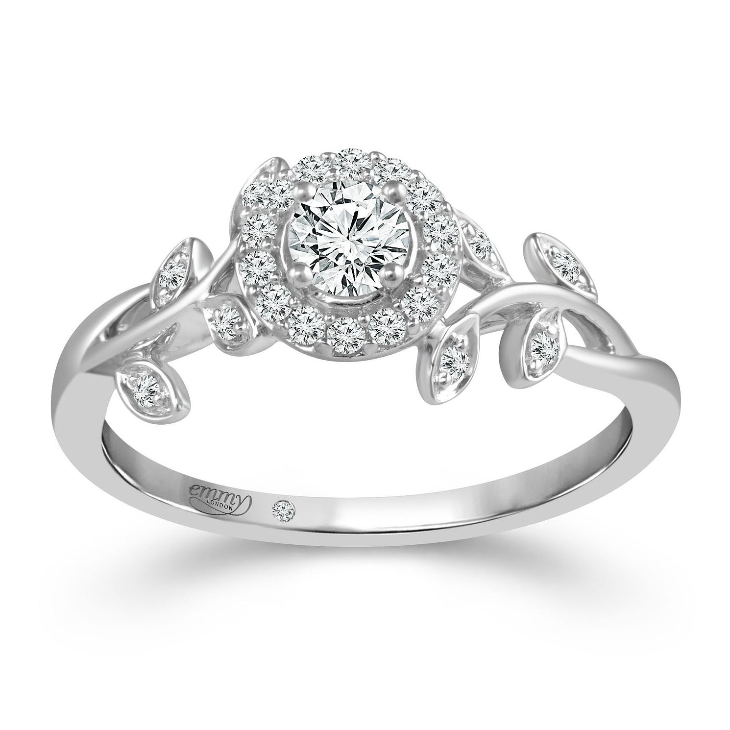 Emmy London 9ct White Gold 1/3ct Diamond Leaf Design Ring - Product number 4481216