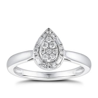 Platinum 1/5ct Diamond Pear Halo Cluster Ring - Product number 4481682
