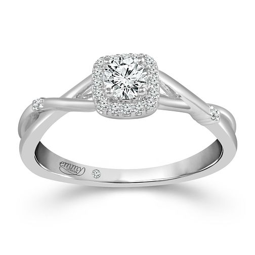 Emmy London 18ct White Gold 1/4ct Diamond Cushion Halo Ring - Product number 4481828
