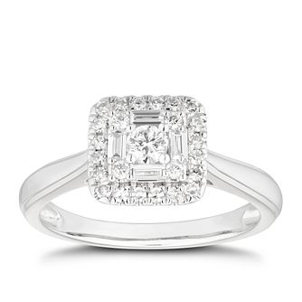 Platinum 0.33ct Total Diamond Cushion Halo Cluster Ring - Product number 4483669