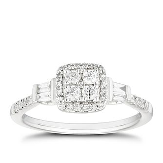 18ct White Gold 1/3ct Diamond Cushion Cluster Ring - Product number 4484053
