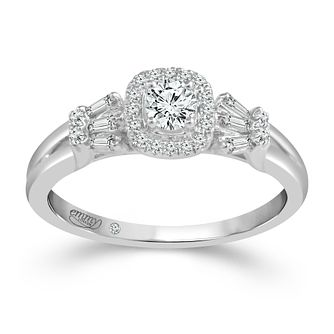 Emmy London Platinum 2/5ct Diamond Cushion Halo Ring - Product number 4484819
