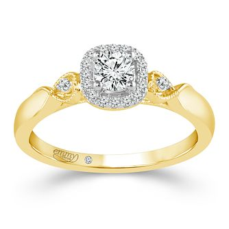 Emmy London 18ct Yellow Gold 1/3ct Diamond Cushion Halo Ring - Product number 4485270
