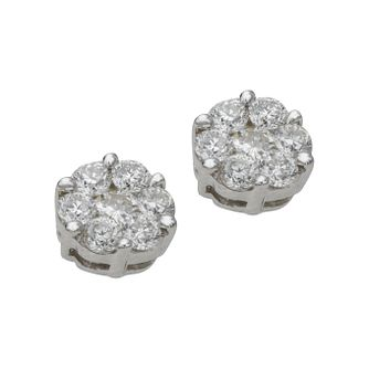 9ct White Gold 0.50ct Total Diamond Cluster Stud Earrings - Product number 4486471
