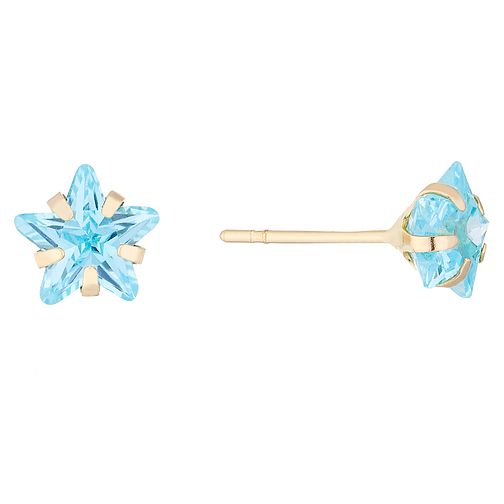 9ct Gold Turquoise Cubic Zirconia Star Stud Earrings - Product number 4487265