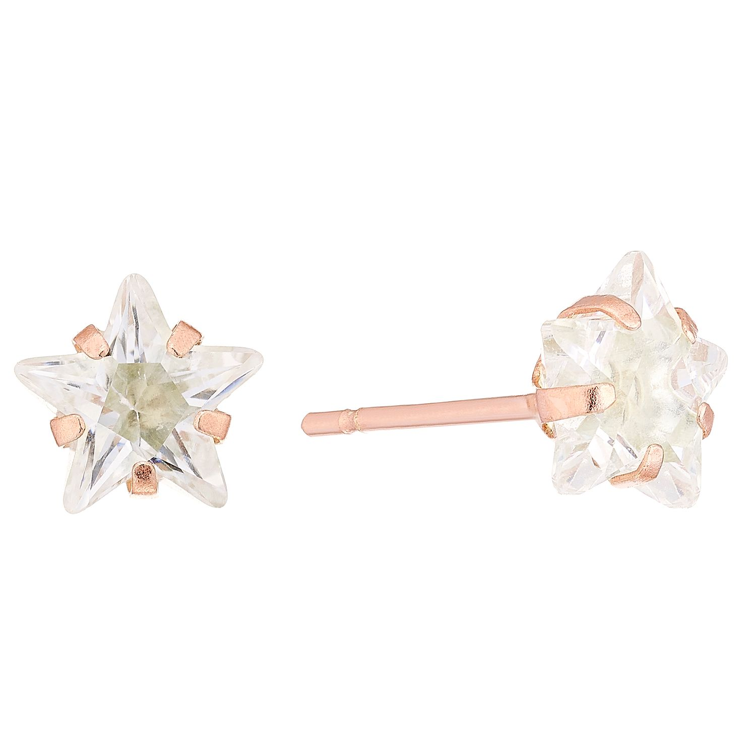 9ct Rose Gold Cubic Zirconia Star 6mm Stud Earrings - Product number 4487419