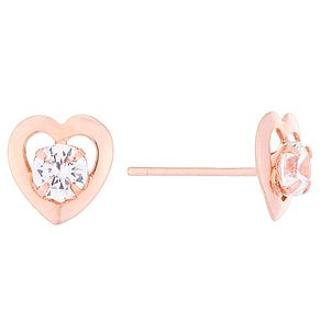 9ct Rose Gold Cubic Zirconia Set Open Heart Stud Earrings - Product number 4487427