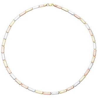 9ct Gold 3 Colour Greek Key Necklace - Product number 4488199