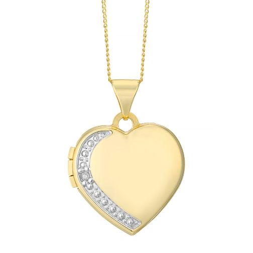 9ct Yellow Gold 0.045ct Diamond Edge Heart Locket - Product number 4488377