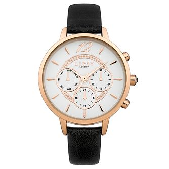 Lipsy Ladies' White Multi Sub Dial Black PU Strap Watch - Product number 4488458