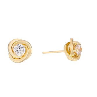 9ct Yellow Gold Cubic Zirconia Knot Stud Earrings - Product number 4489314