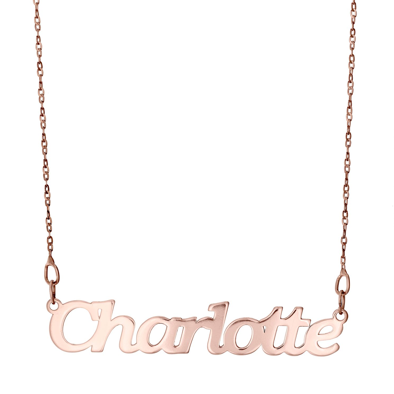 9ct Rose Gold 'Charlotte' Nameplate Necklace, | H Samuel