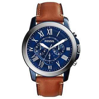 d052844fce7d Fossil Men s Stainless Steel Tan Leather Strap Watch - Product number  4490436