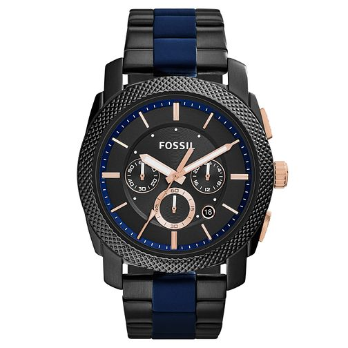 Fossil Men's Black Dial Black Ion-Plated Bracelet Watch - Product number 4491971