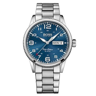 Hugo Boss Men's Stainless Steel Blue Dial Strap Watch - Product number 4492072