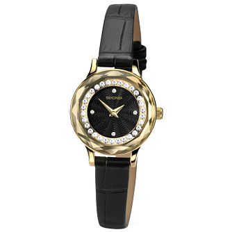 Sekonda Ladies' Stone Set Black Leather Strap Watch - Product number 4492269