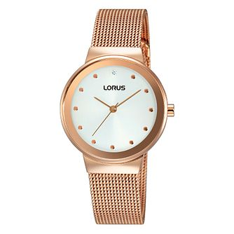 Lorus Ladies' Rose Gold Plated White Dial Bracelet Watch - Product number 4493540
