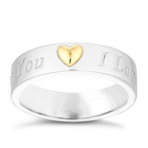 Sterling Silver & 9ct Gold 'I Love You' Ring - Product number 4495551